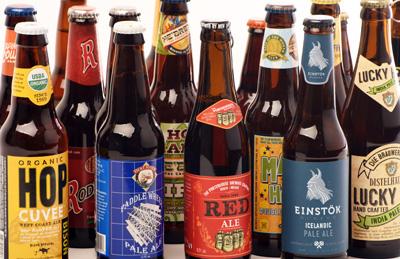 several beer bottles