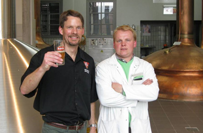 Panel member Alex Puchner with Brouwerij Bavik brewer Yves Benoit at his brewery in Belgium