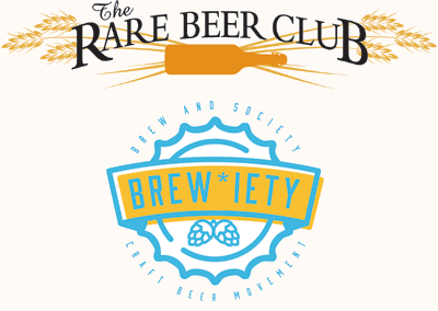 rare beer club and brewiety logos